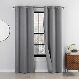 Eclipse Mooreland 2-Pack Grommet 100% Blackout Windor Window Curtain Panels in Charcoal