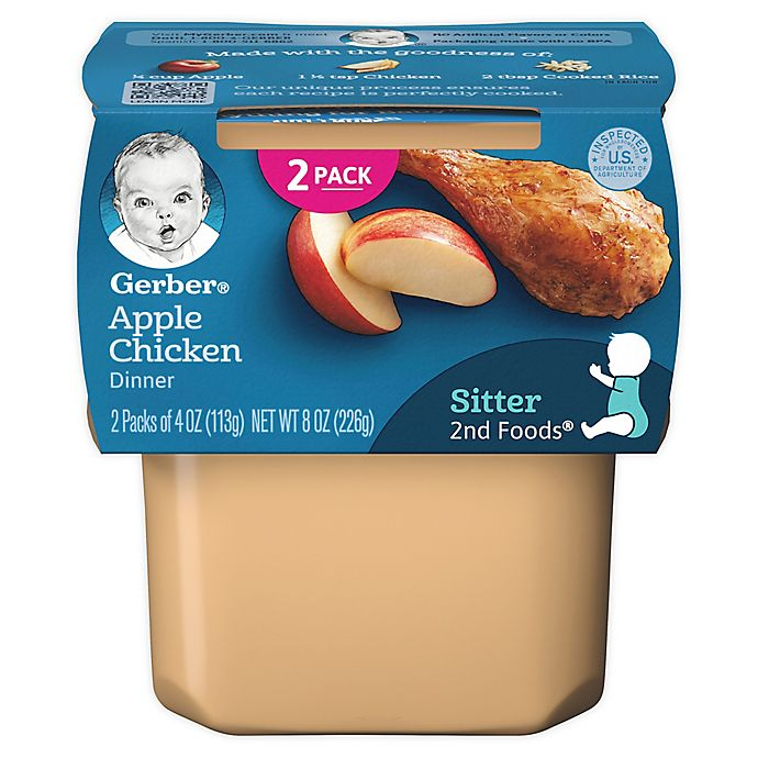 Alternate image 1 for Gerber® 2nd Foods® 3.5 oz. Apples & Chicken (2-Pack)
