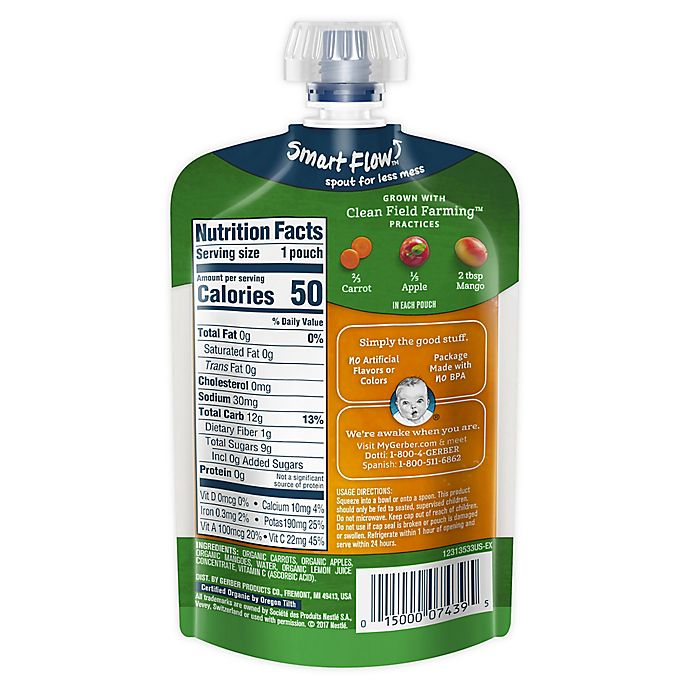 Alternate image 1 for Gerber® 2nd Foods® Organic Carrots, Apples & Mangoes Puree Pouch 3.5 oz.