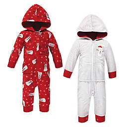 Hudson Baby 2-Pack Christmas Fleece Hooded Coveralls