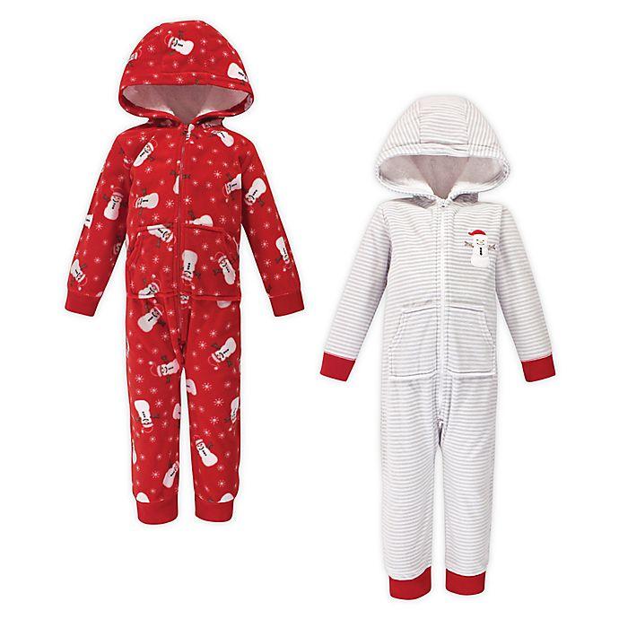 Alternate image 1 for Hudson Baby® 2-Pack Christmas Fleece Hooded Toddler Coveralls