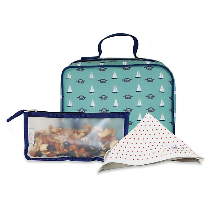 Alternate image 1 for BlueAvocado® 3-Piece (eco) Lunch Kit in Green Nautical