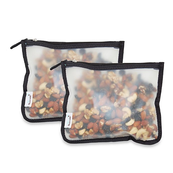 Alternate image 1 for BlueAvocado® (re) Zip 2-Pack Snack Bags in Black Trim