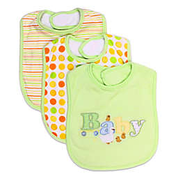 SpaSilk® 3-Pack Terry Bib with Baby Applique in Green