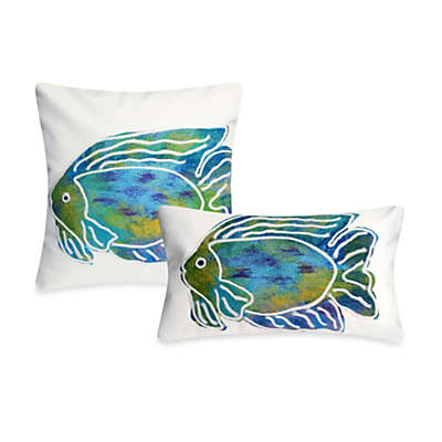 Liora Manne Outdoor Throw Pillow Collection in Batik Fish Aqua