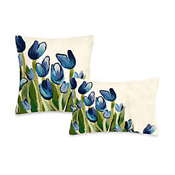 Liora Manne Outdoor Throw Pillow Collection in Allover Tulips Blue