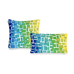 Liora Manne Outdoor Throw Pillow Collection in Ombre Tile Cool