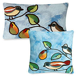 Liora Manne Outdoor Throw Pillow Collection in Blue Song Birds