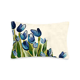 Liora Manne Oblong Outdoor Throw Pillow in Allover Tulips Blue