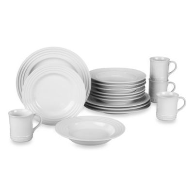 Le Creuset 16 Piece Dinnerware Set With Rim Soup Bowl In White Bed Bath Beyond