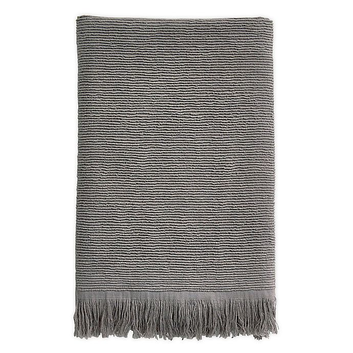 Alternate image 1 for Ribbed Fringe Bath Towel