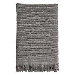Ribbed Fringe Bath Towel in Grey