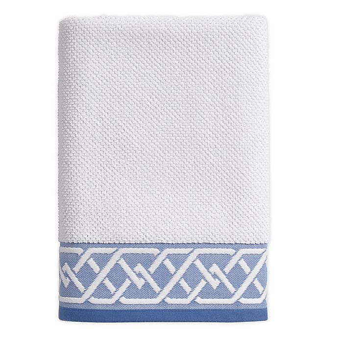 Alternate image 1 for Geometric Stripe Bath Towel in White