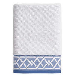 Geometric Stripe Bath Towel in White