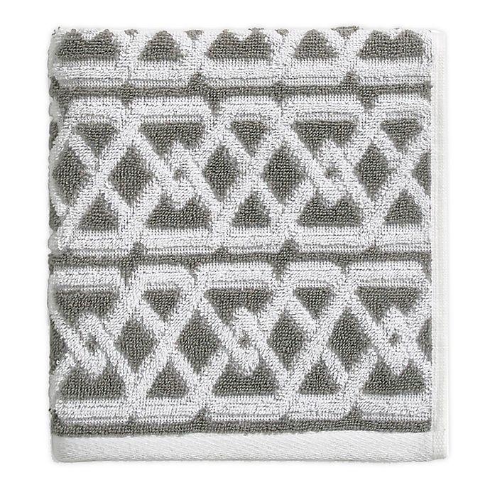 Alternate image 1 for Geometric Stripe Hand Towel in Grey