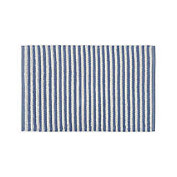"Bee & Willow™ Home 21"" x 34"" Boucle Stripe Cotton Bath Rug in White/Blue"