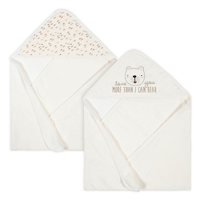 Alternate image 1 for Gerber® 2-Pack Bear Hooded Towels in Oatmeal