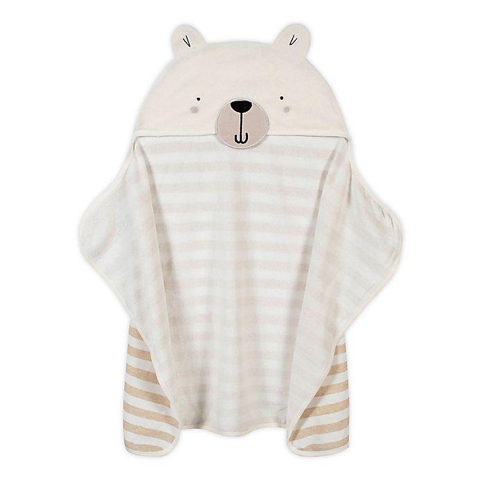 Alternate image 1 for Gerber® Bear Hooded Towel in Ivory/Grey