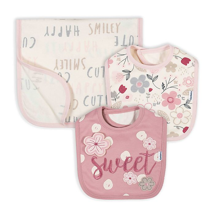 Alternate image 1 for Gerber® 3-Piece Floral Bib and Burp Set