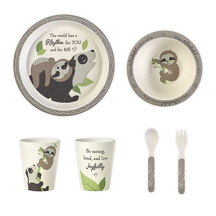 Alternate image 1 for Precious Moments® Sloth 5-Piece Toddler Mealtime Set