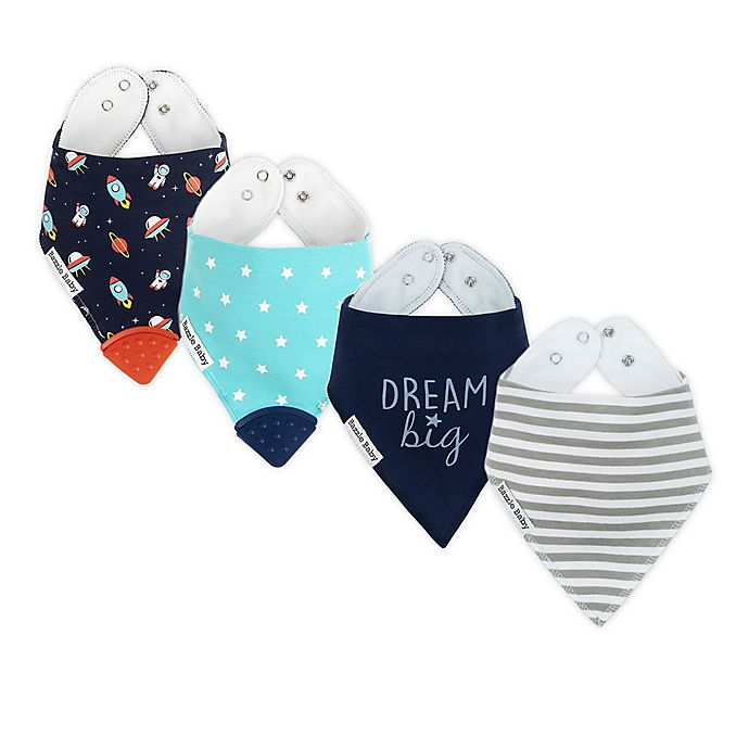 Alternate image 1 for Bazzle Baby 4-Pack Dreamer Boy Bandana Bib with Teether in Blue