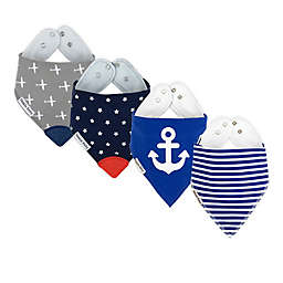 Bazzle Baby 4-Pack Sea & Sky Bandana Bib with Teether in Grey/Blue