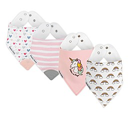 Bazzle Baby 4-Pack Dreamer Girl Banda Bib Teethers in Pink