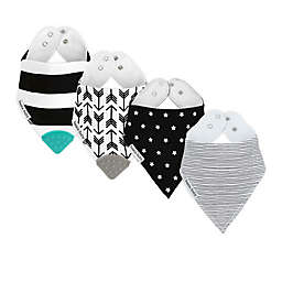 Bazzle Baby 4-Pack Arrows/Stripes Banda Bib Teethers in Black/White
