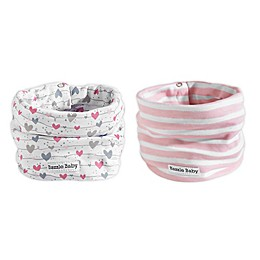 Bazzle Baby BandoBib 2-Pack Wave/Heart Infinity Scarf Drool Bib in White/Pink