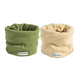 Bazzle Baby BandoBib 2-Pack Pastel Solids Infinity Scarf Drool Bib with Fleece in Sage/Ivory