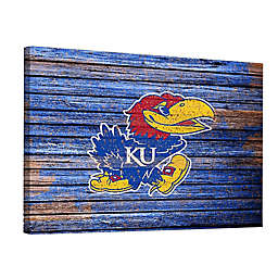 University of Kansas Weathered 18-Inch x 24-Inch Canvas Wall Art