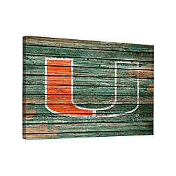 University of Miami Weathered 36-Inch x 48-Inch Canvas Wall Art