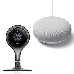 Google Nest Indoor Camera and Google Home Mini Bundle in Chalk