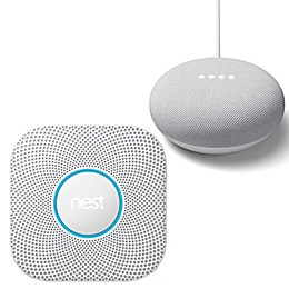 Google Nest Protect Smoke and Carbon Monoxide Wired Alarm and Google Home Mini Bundle
