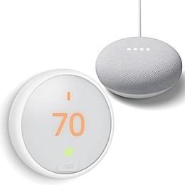 Google Nest Thermostat E and Google Home Mini Bundle in Chalk