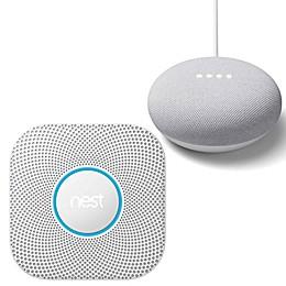 Google Nest Protect Smoke and Carbon Monoxide Battery Alarm and Google Home Mini Bundle