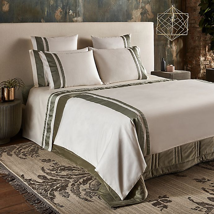 Alternate image 1 for Frette At Home Brenta Queen Duvet Cover in Ivory/Sage