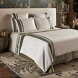 Frette At Home Brenta Queen Duvet Cover in Ivory/Sage