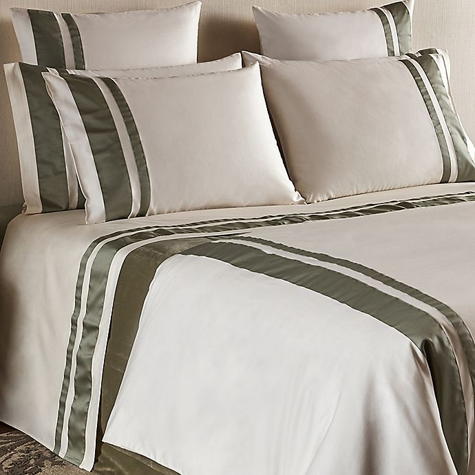Alternate image 1 for Frette At Home Brenta 280-Thread-Count California King Sheet Set in Ivory/Sage