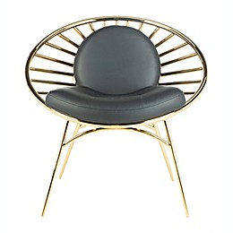 Safavieh Nina Faux Leather Hoop Chair in Gold/Black