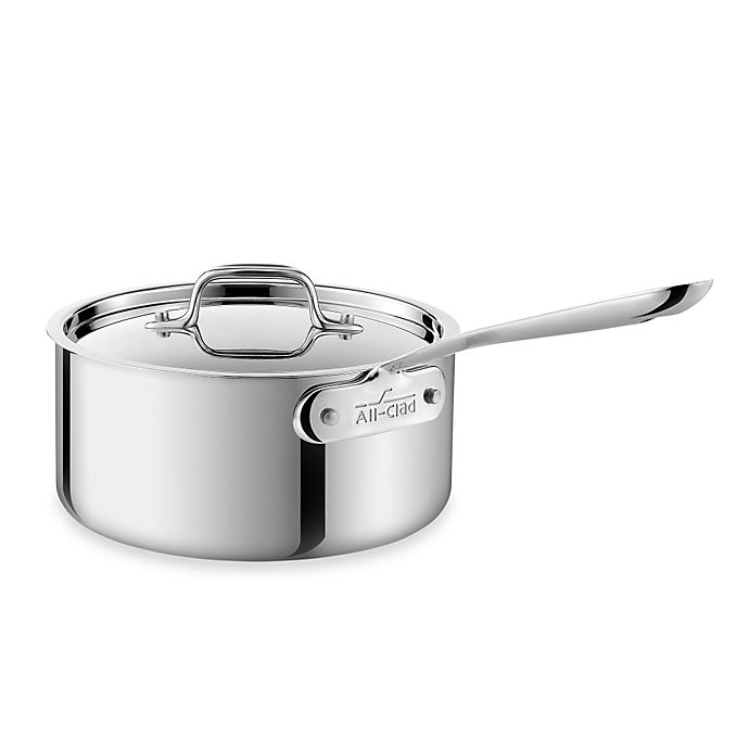 Alternate image 1 for All-Clad Stainless Steel 3 qt. Covered Saucepan