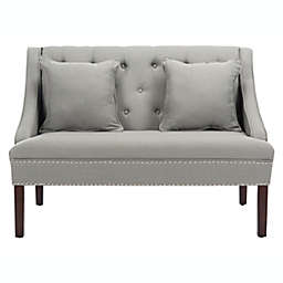 Safavieh Zoey Linen Settee with Silver Nailheads in Grey/Espresso