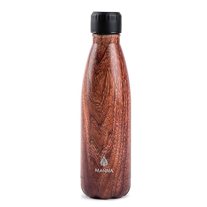 Alternate image 1 for Manna™ Vogue® 17 oz. Double Wall Stainless Steel Bottle in Brown Wood