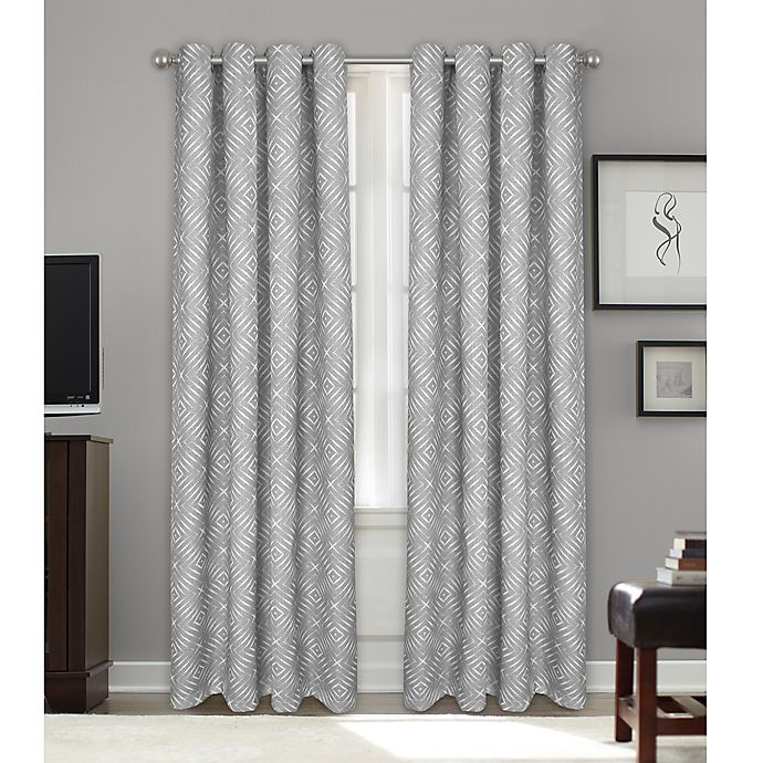 Alternate image 1 for Bastille Geometric Grommet 100% Blackout Window Curtain Panel