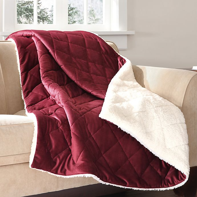 Alternate image 1 for The Seasons Collection® Mink to Berber Down-Alternative Filled Reversible Throw