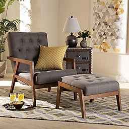 Baxton Studio Sarotte Furniture Collection in Grey/Walnut