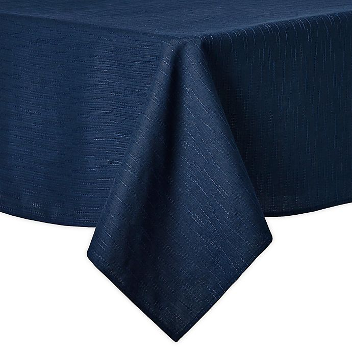 Alternate image 1 for Artisanal Kitchen Supply® Stitches 60-Inch x 102-Inch Oblong Tablecloth in Navy