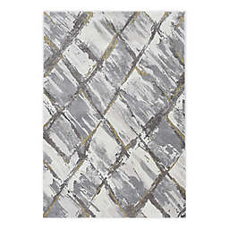"""KAS Elements Panes 7'10"""" x 10'10"""" Area Rug in Ivory/Grey"""