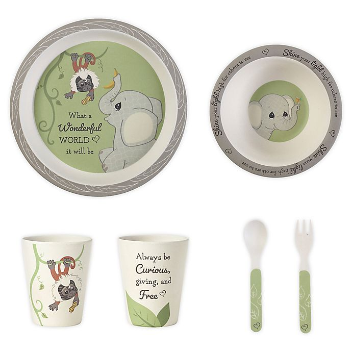 Alternate image 1 for Precious Moments® Elephant and Monkey 5-Piece Toddler Mealtime Set