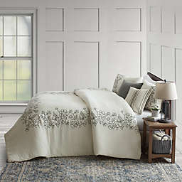 Bee & Willow™ Home Floral Embroidery 3-Piece Full/Queen Duvet Cover Set in White/Black